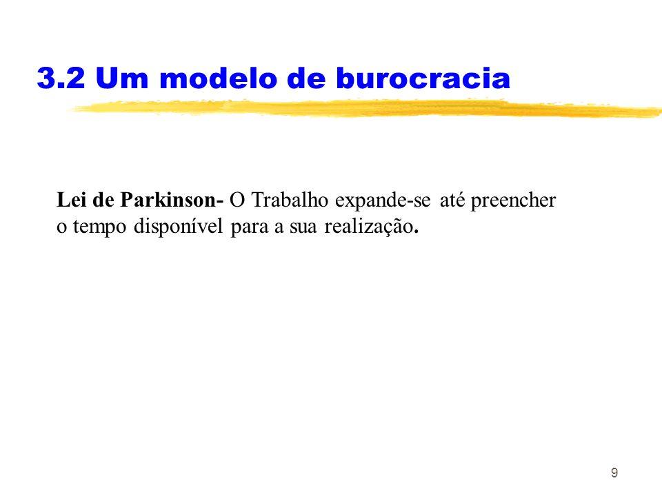 9 3.2 Um modelo de burocracia Lei de Parkinson- O Trabalho expande-se até preencher o tempo disponível para a sua realização.
