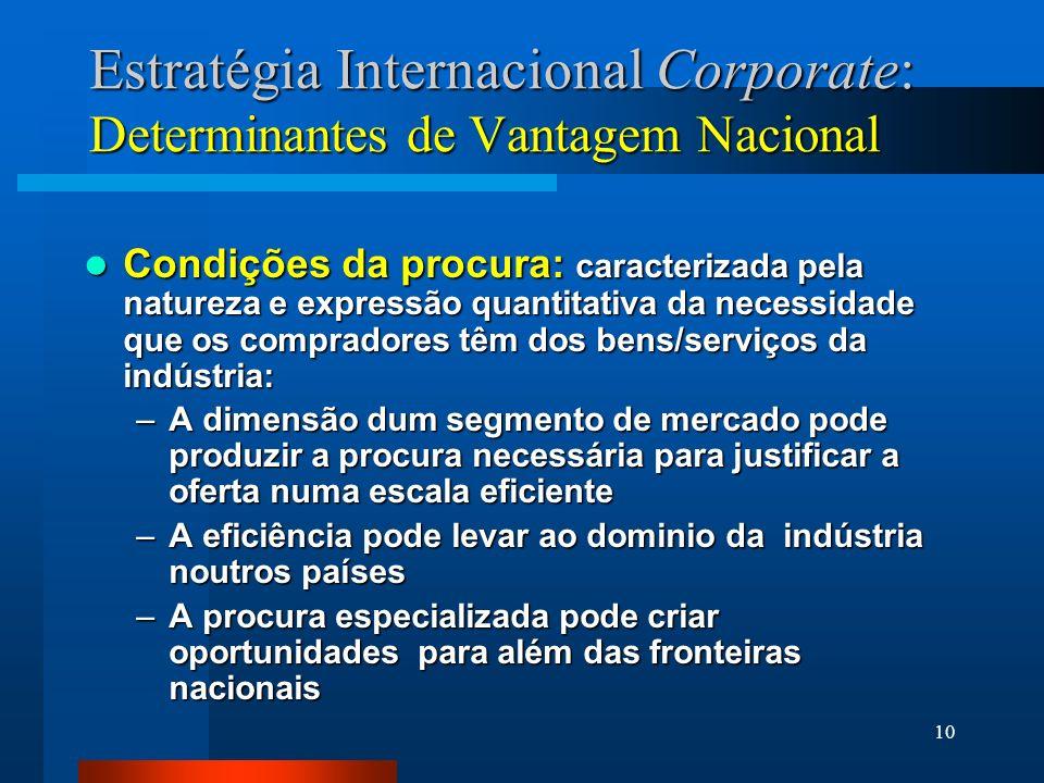 10 Estratégia Internacional Corporate: Determinantes de Vantagem Nacional Condições da procura: caracterizada pela natureza e expressão quantitativa d