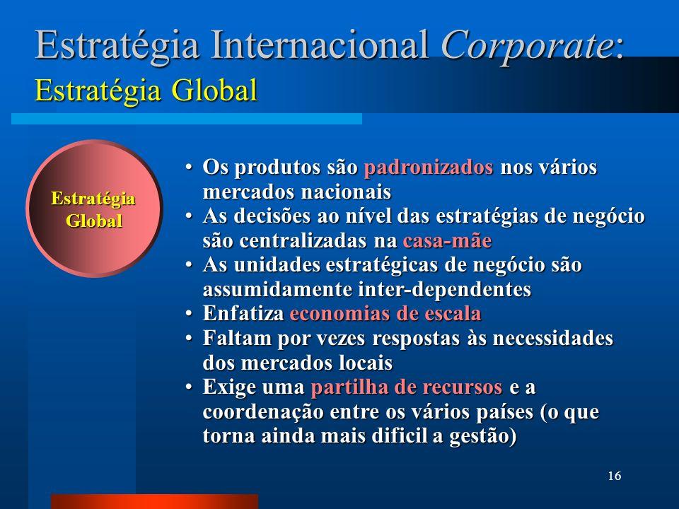 16 Estratégia Internacional Corporate: Estratégia Global EstratégiaGlobal Os produtos são padronizados nos vários mercados nacionaisOs produtos são pa
