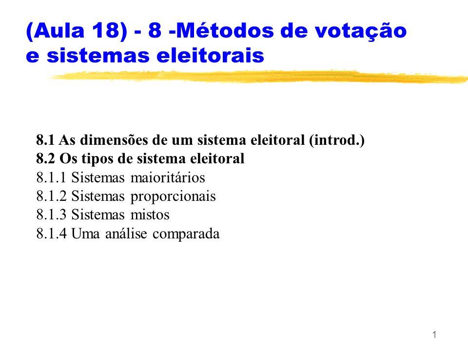 1 8.1 As dimensões de um sistema eleitoral (introd.) 8.2 Os tipos de sistema eleitoral 8.1.1 Sistemas maioritários 8.1.2 Sistemas proporcionais 8.1.3