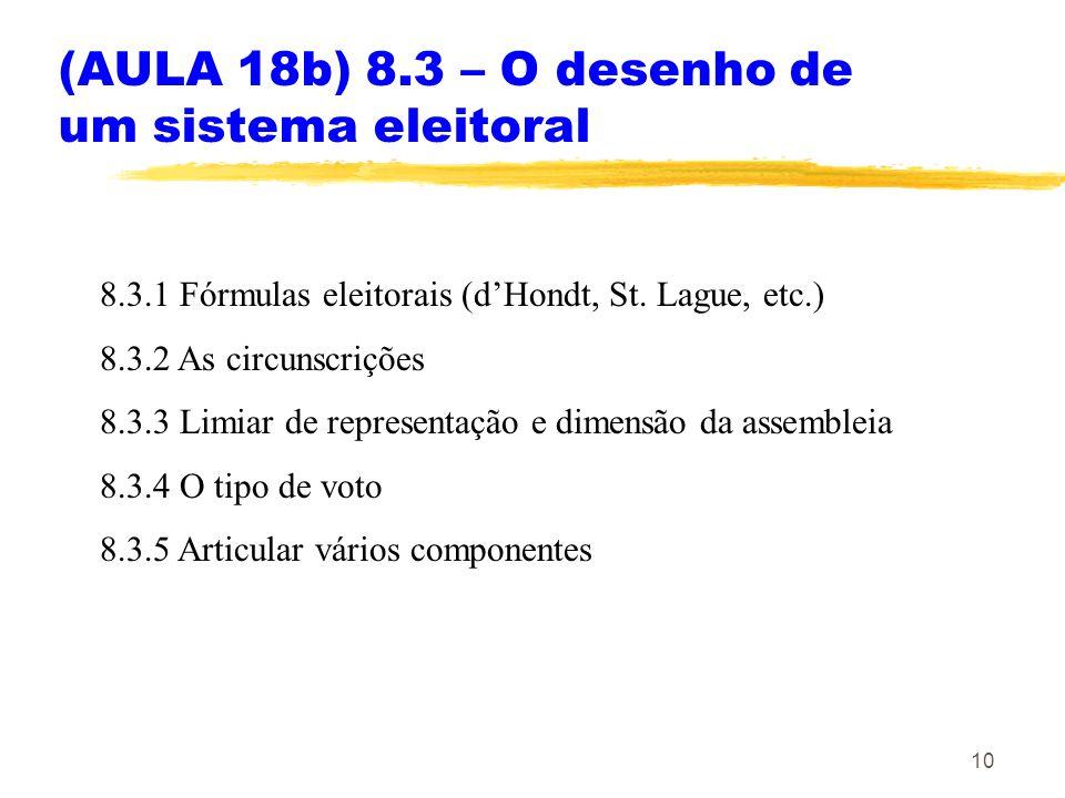 10 (AULA 18b) 8.3 – O desenho de um sistema eleitoral 8.3.1 Fórmulas eleitorais (dHondt, St. Lague, etc.) 8.3.2 As circunscrições 8.3.3 Limiar de repr
