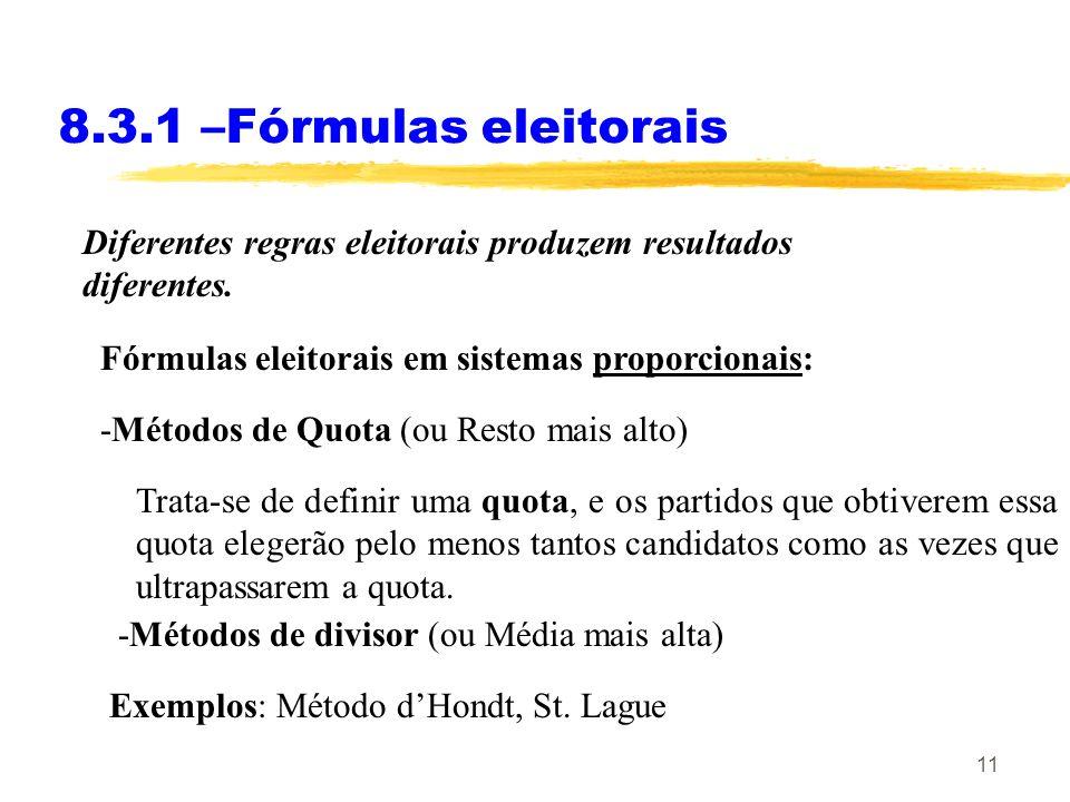 11 8.3.1 –Fórmulas eleitorais Fórmulas eleitorais em sistemas proporcionais: -Métodos de divisor (ou Média mais alta) -Métodos de Quota (ou Resto mais