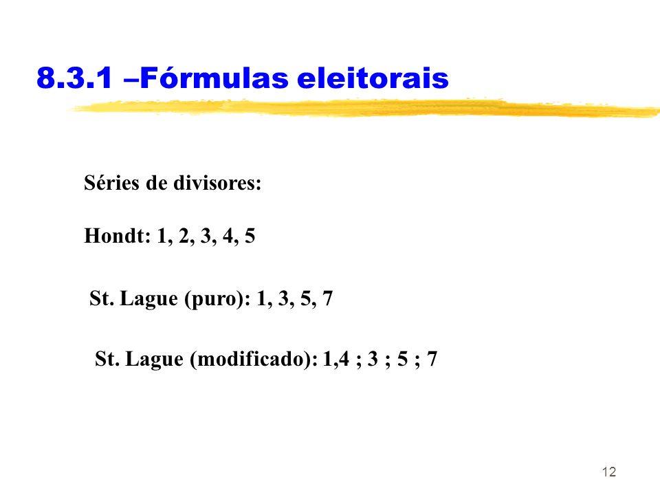 12 8.3.1 –Fórmulas eleitorais Séries de divisores: Hondt: 1, 2, 3, 4, 5 St. Lague (puro): 1, 3, 5, 7 St. Lague (modificado): 1,4 ; 3 ; 5 ; 7