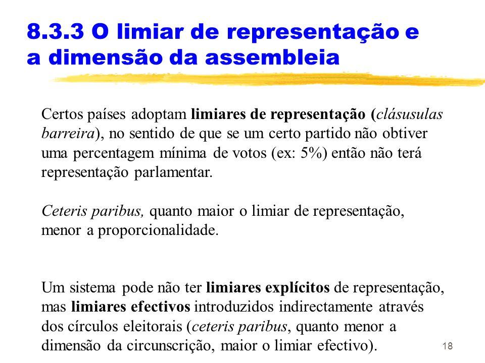 18 8.3.3 O limiar de representação e a dimensão da assembleia Certos países adoptam limiares de representação (clásusulas barreira), no sentido de que