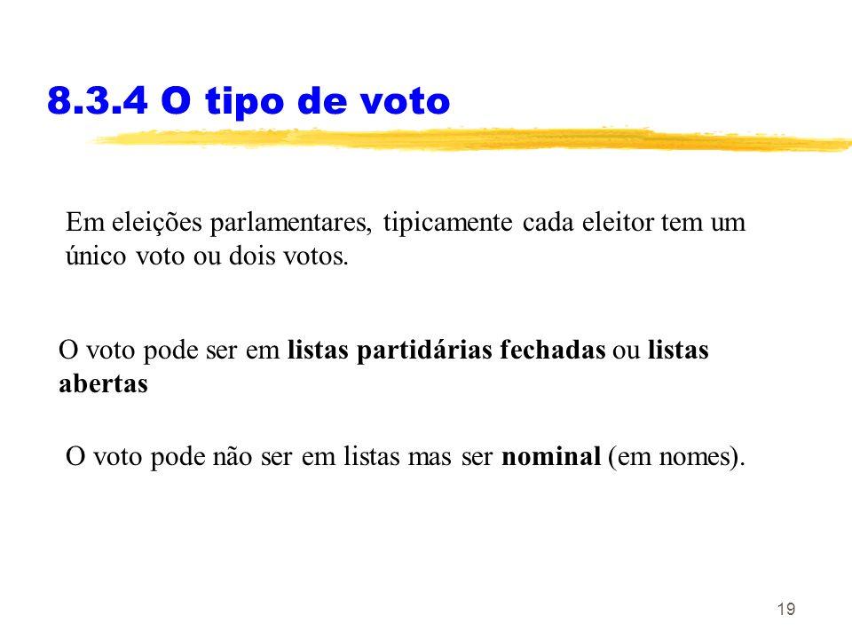 19 8.3.4 O tipo de voto Em eleições parlamentares, tipicamente cada eleitor tem um único voto ou dois votos. O voto pode ser em listas partidárias fec