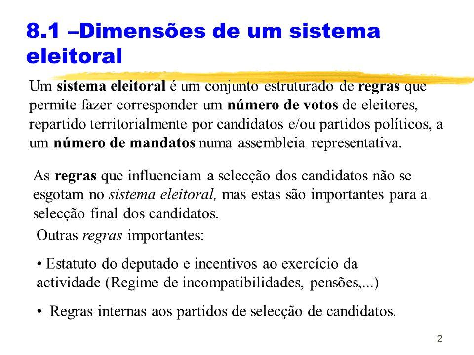 2 8.1 –Dimensões de um sistema eleitoral Um sistema eleitoral é um conjunto estruturado de regras que permite fazer corresponder um número de votos de