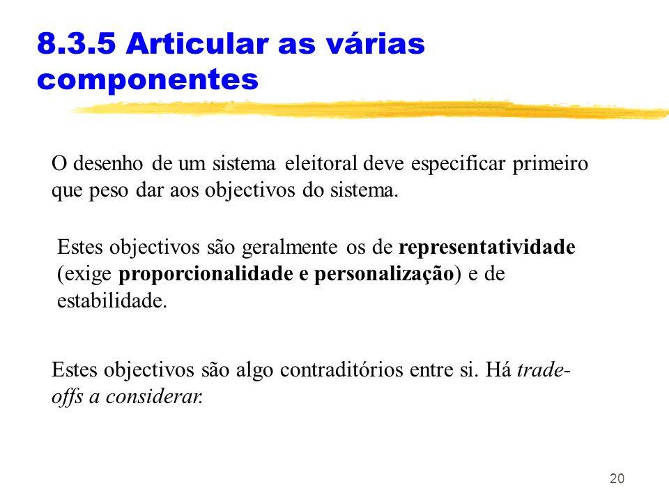 20 8.3.5 Articular as várias componentes Estes objectivos são algo contraditórios entre si. Há trade- offs a considerar. O desenho de um sistema eleit