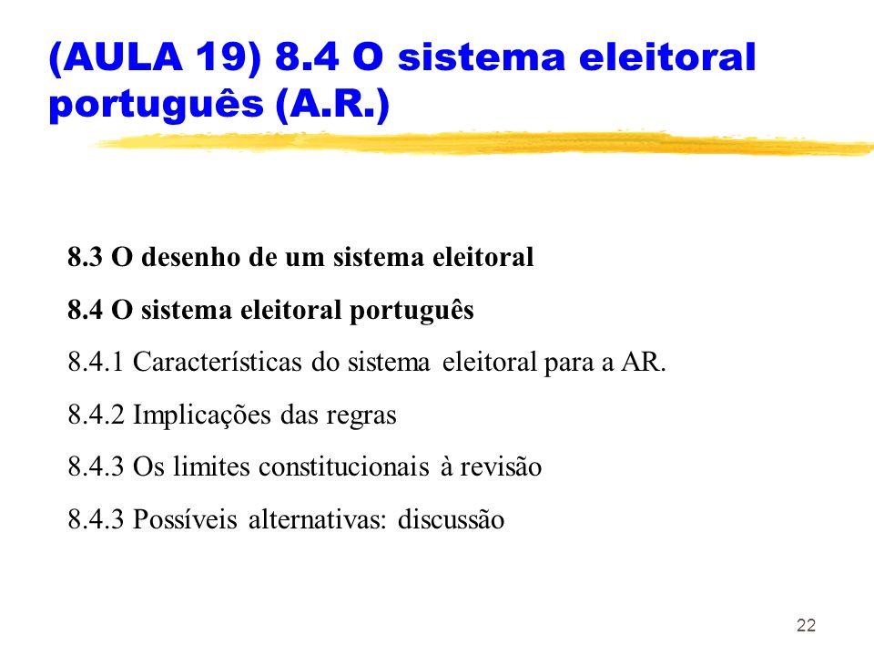 22 (AULA 19) 8.4 O sistema eleitoral português (A.R.) 8.3 O desenho de um sistema eleitoral 8.4 O sistema eleitoral português 8.4.1 Características do