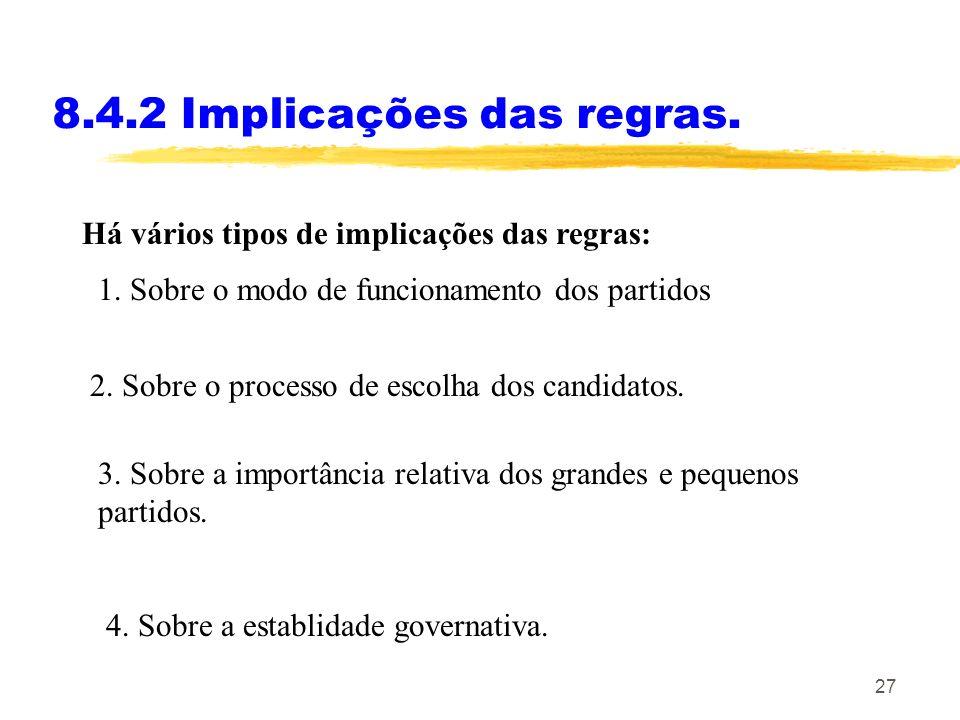 27 8.4.2 Implicações das regras. Há vários tipos de implicações das regras: 2. Sobre o processo de escolha dos candidatos. 1. Sobre o modo de funciona