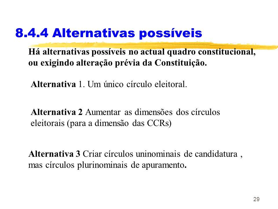 29 8.4.4 Alternativas possíveis Há alternativas possíveis no actual quadro constitucional, ou exigindo alteração prévia da Constituição. Alternativa 2