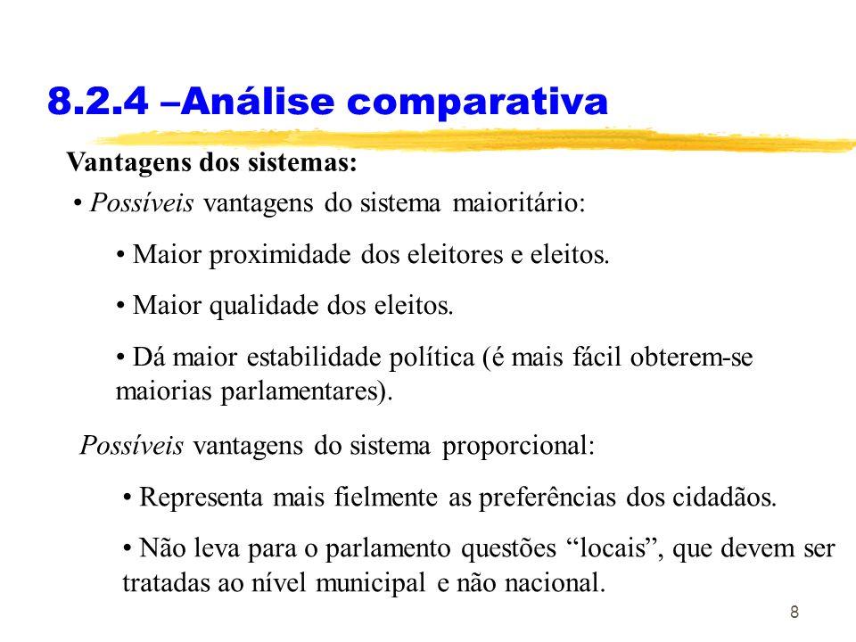 8 8.2.4 –Análise comparativa Vantagens dos sistemas: Possíveis vantagens do sistema maioritário: Maior proximidade dos eleitores e eleitos. Maior qual