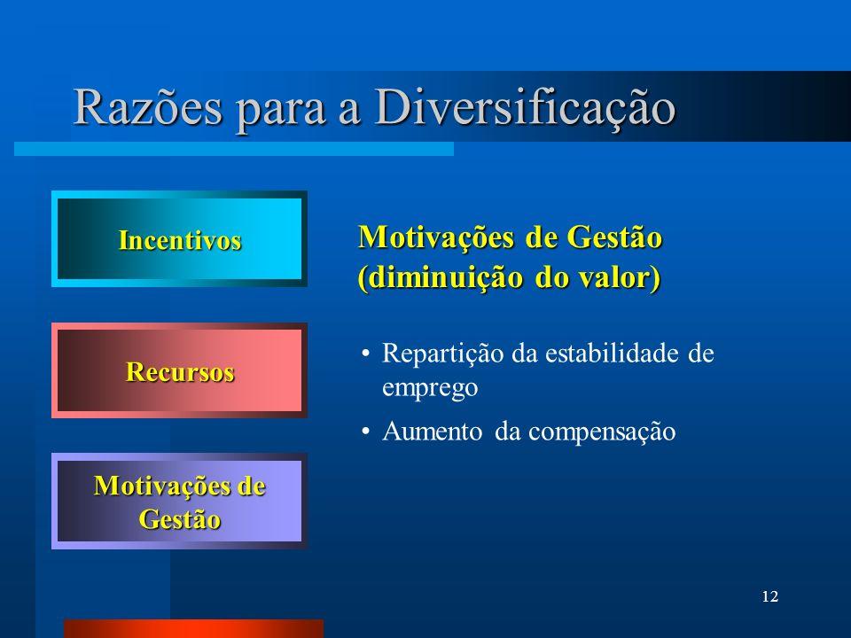 12 Motivações de Gestão (diminuição do valor) Repartição da estabilidade de emprego Aumento da compensação Incentivos Recursos Motivações de Gestão Ra