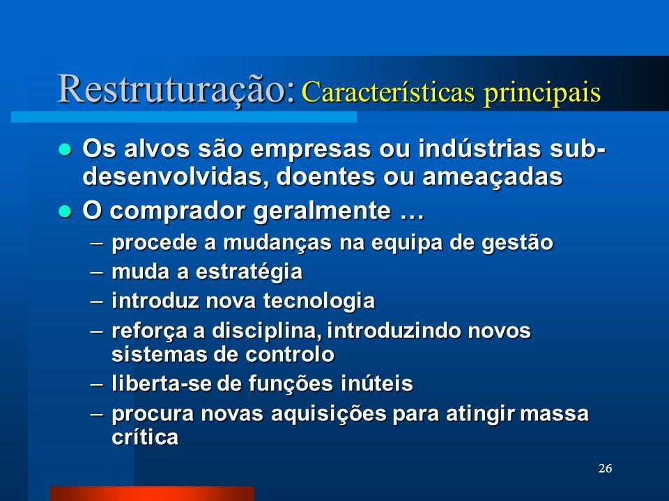 26 Restruturação: Os alvos são empresas ou indústrias sub- desenvolvidas, doentes ou ameaçadas Os alvos são empresas ou indústrias sub- desenvolvidas,