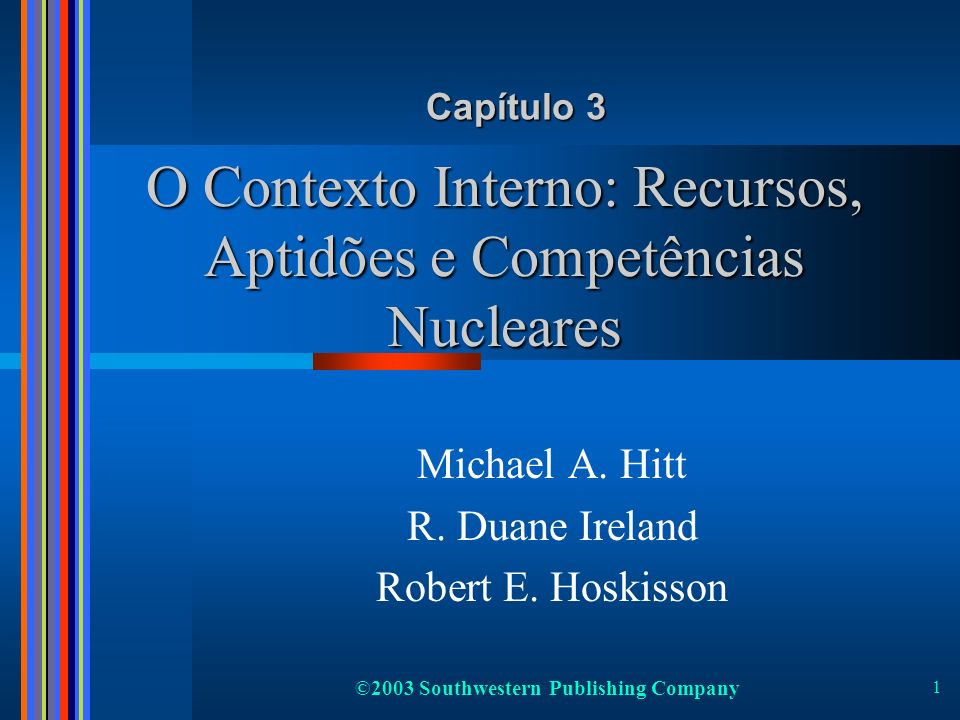 2 Strategy Implementation Chapter 11 Chapter 11 Organizational Structure and Structure and Controls Chapter 10 Chapter 10 Corporate Governance Chapter 12 Chapter 12 Strategic Leadership Strategy Formulation Strategic Competitiveness Above-Average Returns Desígnio e Desígnio e Missão Estratégica Missão Estratégica Capítulo 2 Capítulo 2 O Contexto O Contexto Externo Capítulo 3 Capítulo 3 O Contexto O Contexto Interno O Processo de Gestão Estratégica Feedback Inputs estratégicos Strategic Actions Strategic Outcomes Chapter 13 Chapter 13 Strategic Entrepreneurship Chapter 6 Chapter 6 Corporate- Level Strategy Level Strategy Chapter 9 Chapter 9 Cooperative Strategy Chapter 5 Chapter 5 Competitive Rivalry Competitive Rivalry and Competitive and Competitive Dynamics Chapter 8 Chapter 8 International Strategy Chapter 4 Chapter 4 Business-Level Strategy Chapter 7 Chapter 7 Acquisition and Acquisition and Restructuring Strategies