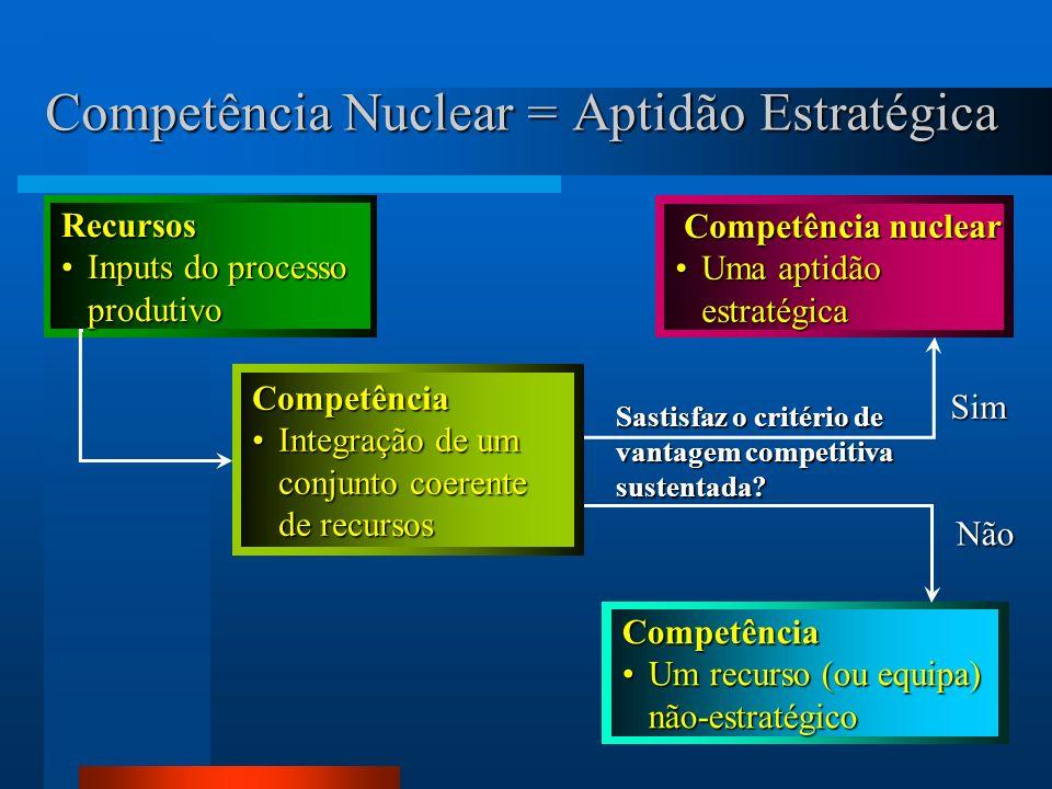18 Competência Nuclear = Aptidão Estratégica Recursos Inputs do processoInputs do processoprodutivo Competência Um recurso (ou equipa)Um recurso (ou equipa)não-estratégico Competência nuclear Competência nuclear Uma aptidãoUma aptidãoestratégica Sastisfaz o critério de vantagem competitiva sustentada.
