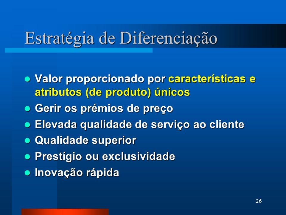 26 Estratégia de Diferenciação Valor proporcionado por características e atributos (de produto) únicos Valor proporcionado por características e atrib