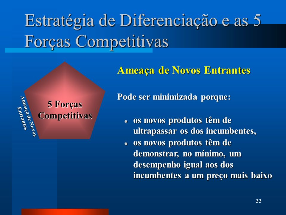 33 Estratégia de Diferenciação e as 5 Forças Competitivas Ameaça de Novos Entrantes Pode ser minimizada porque: l os novos produtos têm de ultrapassar os dos incumbentes, l os novos produtos têm de demonstrar, no mínimo, um desempenho igual aos dos incumbentes a um preço mais baixo Ameaça de Novos Entrantes 5 Forças Competitivas