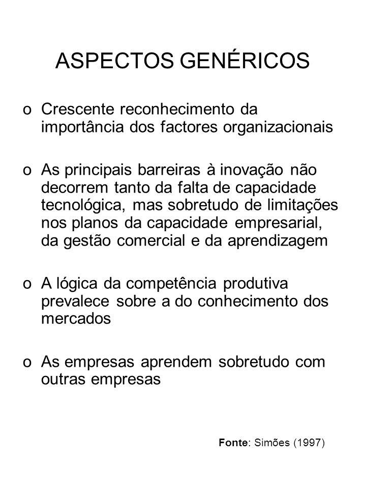 ASPECTOS GENÉRICOS oCrescente reconhecimento da importância dos factores organizacionais oAs principais barreiras à inovação não decorrem tanto da falta de capacidade tecnológica, mas sobretudo de limitações nos planos da capacidade empresarial, da gestão comercial e da aprendizagem oA lógica da competência produtiva prevalece sobre a do conhecimento dos mercados oAs empresas aprendem sobretudo com outras empresas Fonte: Simões (1997)