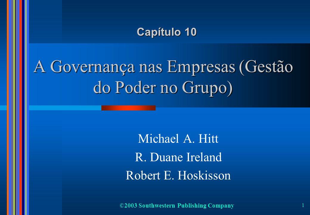 ©2003 Southwestern Publishing Company 1 A Governança nas Empresas (Gestão do Poder no Grupo) Michael A. Hitt R. Duane Ireland Robert E. Hoskisson Capí