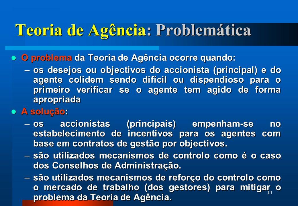 11 Teoria de Agência: Problemática O problema da Teoria de Agência ocorre quando: O problema da Teoria de Agência ocorre quando: –os desejos ou object