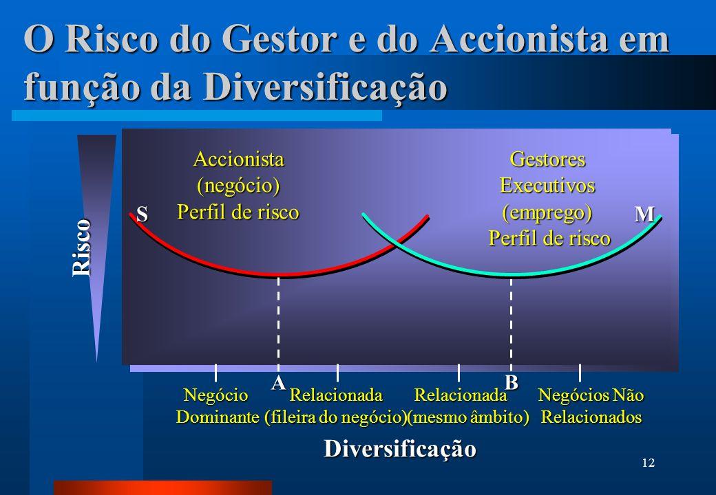 12 O Risco do Gestor e do Accionista em função da Diversificação Risco Diversificação NegócioDominante Negócios Não RelacionadosRelacionada (fileira d