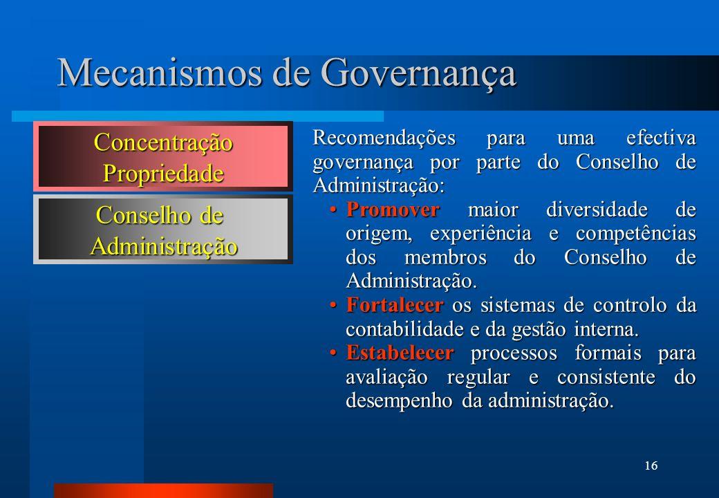 16 Mecanismos de Governança Recomendações para uma efectiva governança por parte do Conselho de Administração: Promover maior diversidade de origem, e
