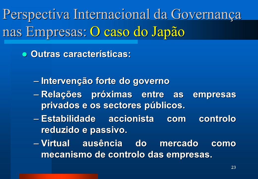 23 Perspectiva Internacional da Governança nas Empresas: O caso do Japão Outras características: Outras características: –Intervenção forte do governo