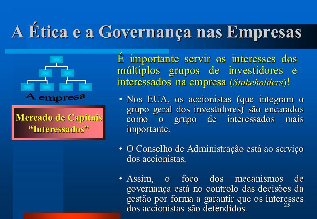 25 A Ética e a Governança nas Empresas Nos EUA, os accionistas (que integram o grupo geral dos investidores) são encarados como o grupo de interessado