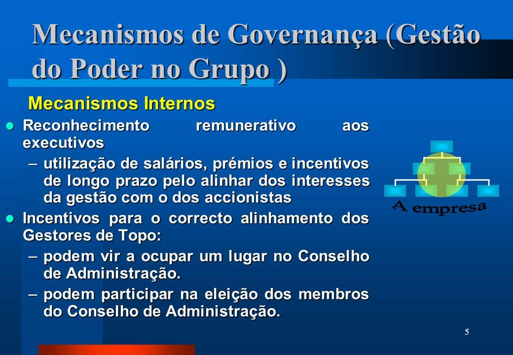 5 Mecanismos de Governança (Gestão do Poder no Grupo ) Reconhecimento remunerativo aos executivos Reconhecimento remunerativo aos executivos –utilizaç