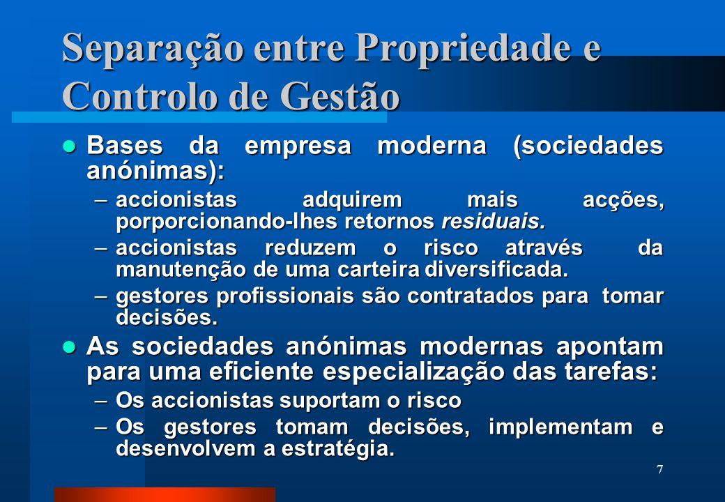 7 Separação entre Propriedade e Controlo de Gestão Bases da empresa moderna (sociedades anónimas): Bases da empresa moderna (sociedades anónimas): –ac