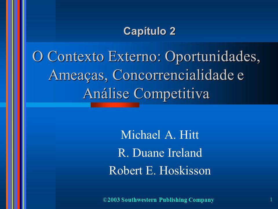 ©2003 Southwestern Publishing Company 1 O Contexto Externo: Oportunidades, Ameaças, Concorrencialidade e Análise Competitiva Michael A. Hitt R. Duane