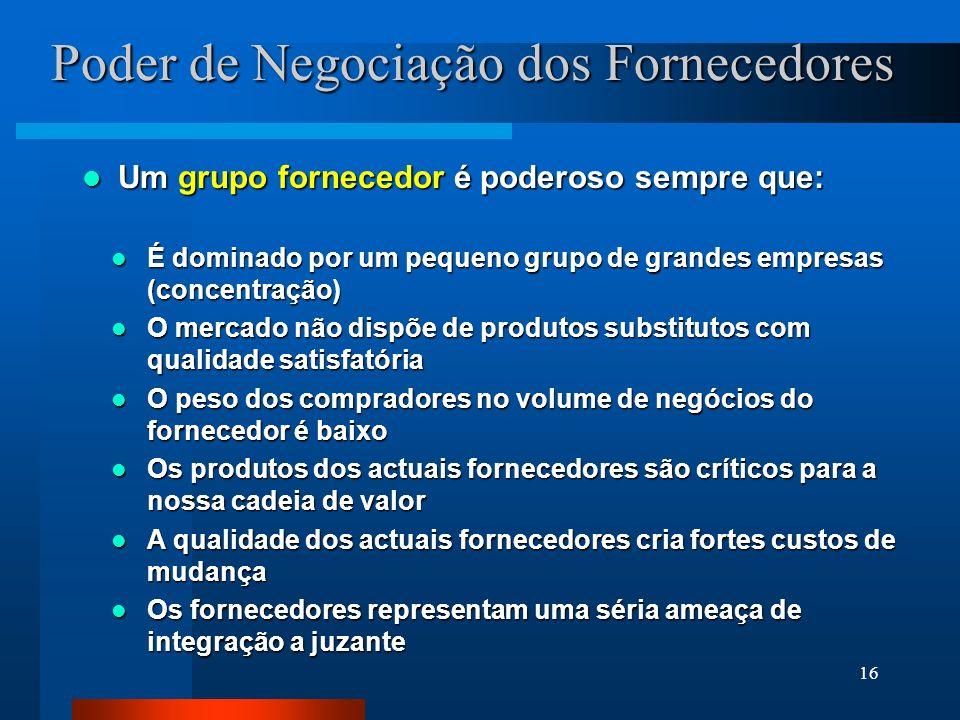 16 Poder de Negociação dos Fornecedores Um grupo fornecedor é poderoso sempre que: Um grupo fornecedor é poderoso sempre que: É dominado por um pequen