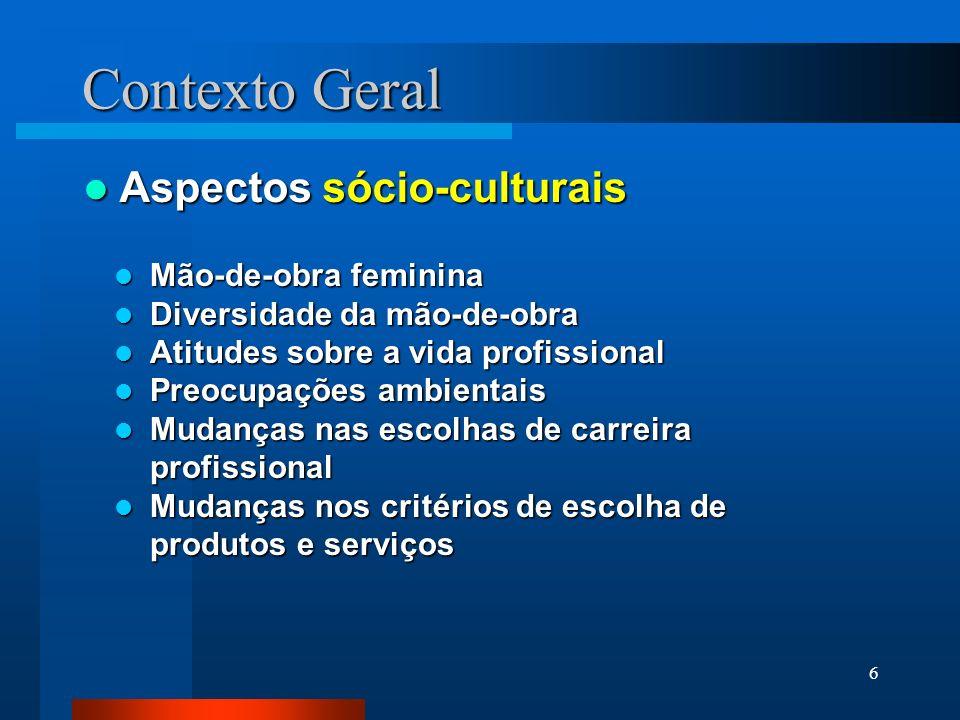 6 Contexto Geral Aspectos sócio-culturais Aspectos sócio-culturais Mão-de-obra feminina Mão-de-obra feminina Diversidade da mão-de-obra Diversidade da