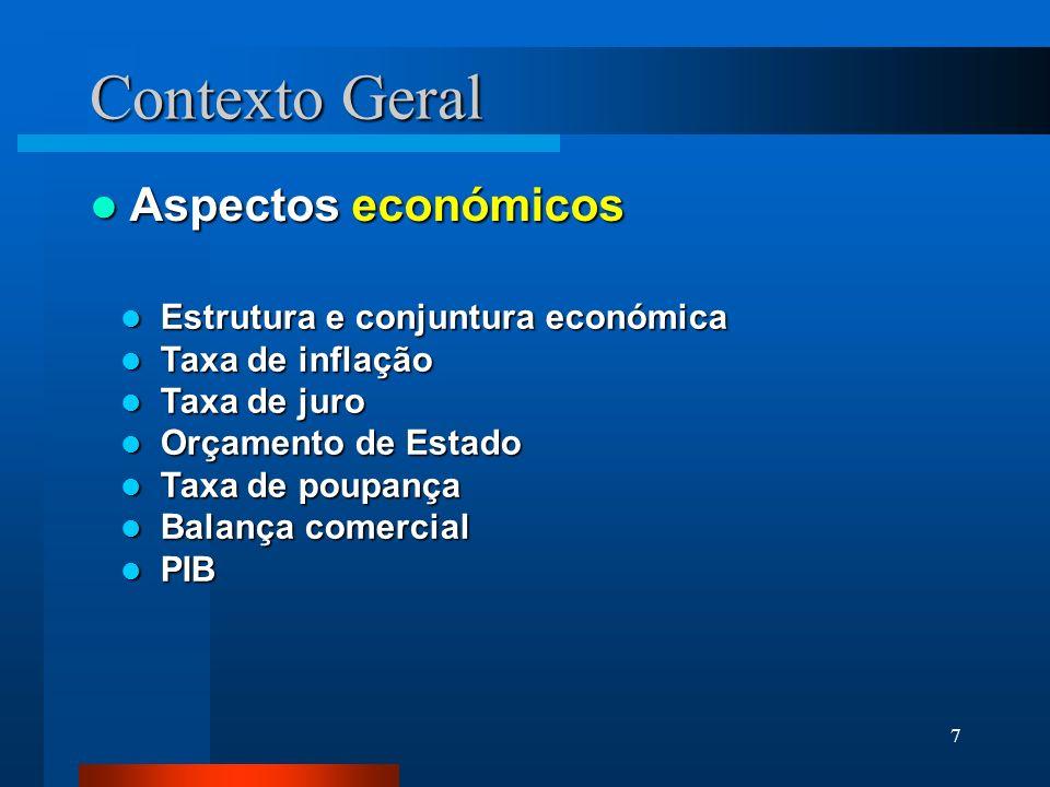 7 Aspectos económicos Aspectos económicos Contexto Geral Estrutura e conjuntura económica Estrutura e conjuntura económica Taxa de inflação Taxa de in