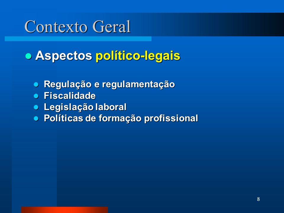 8 Contexto Geral Aspectos político-legais Aspectos político-legais Regulação e regulamentação Regulação e regulamentação Fiscalidade Fiscalidade Legis