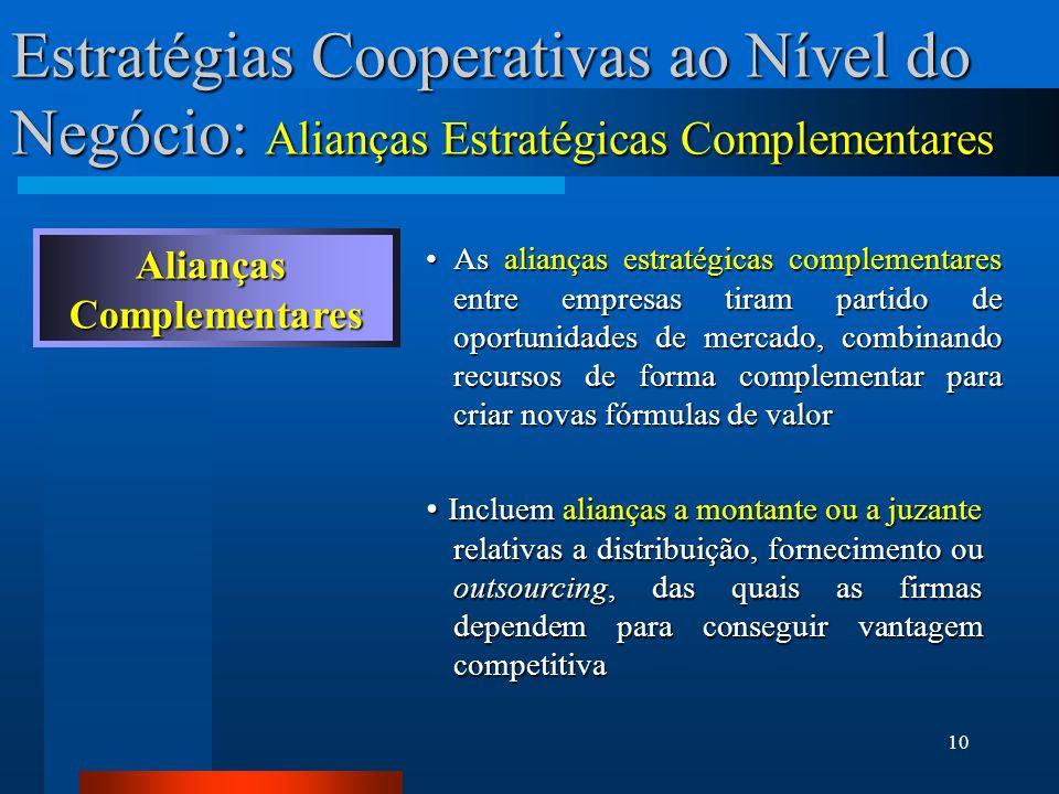 10 Estratégias Cooperativas ao Nível do Negócio: Alianças Estratégicas Complementares AliançasComplementares As alianças estratégicas complementares e