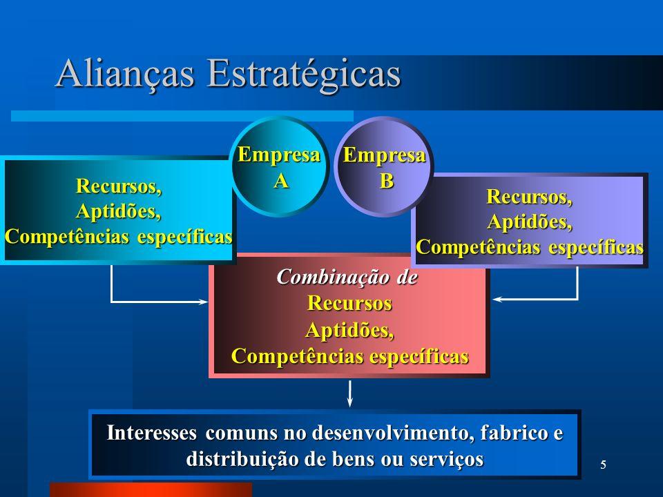 5 Combinação de RecursosAptidões, Competências específicas Recursos,Aptidões, Recursos,Aptidões, Alianças Estratégicas Empresa A Empresa B Interesses