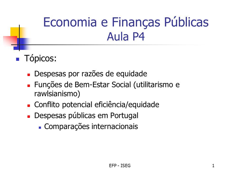 EFP - ISEG1 Economia e Finanças Públicas Aula P4 Tópicos: Despesas por razões de equidade Funções de Bem-Estar Social (utilitarismo e rawlsianismo) Co