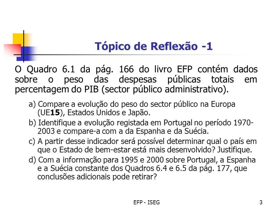 EFP - ISEG4 Tópico de Reflexão - 2 Considere os seguintes dados estimados (2000-2050) do rácio de dependência dos idosos (rácios da projecção de pessoas com mais de 65 anos sobre as pessoas com idades entre 15 e 64 anos), para Portugal e os países da União Europeia a 15 e a 27 membros: 2005201020152020202520302035204020452050 EU (27) 24.72628.631.835.539.844.448.150.852.8 EU (15) 25.927.530.132.836.341.246.3505253.2 Portugal 25.226.528.831.534.73943.448.954.758.1 Que consequências poderá ter esta evolução demográfica na estrutura das despesas públicas.