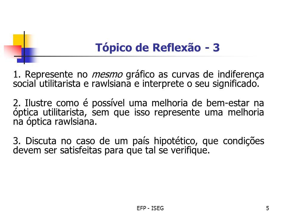 EFP - ISEG5 Tópico de Reflexão - 3 1. Represente no mesmo gráfico as curvas de indiferença social utilitarista e rawlsiana e interprete o seu signific