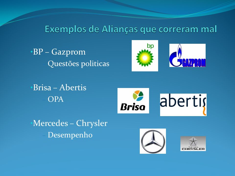BP – Gazprom – Questões politicas Brisa – Abertis – OPA Mercedes – Chrysler – Desempenho