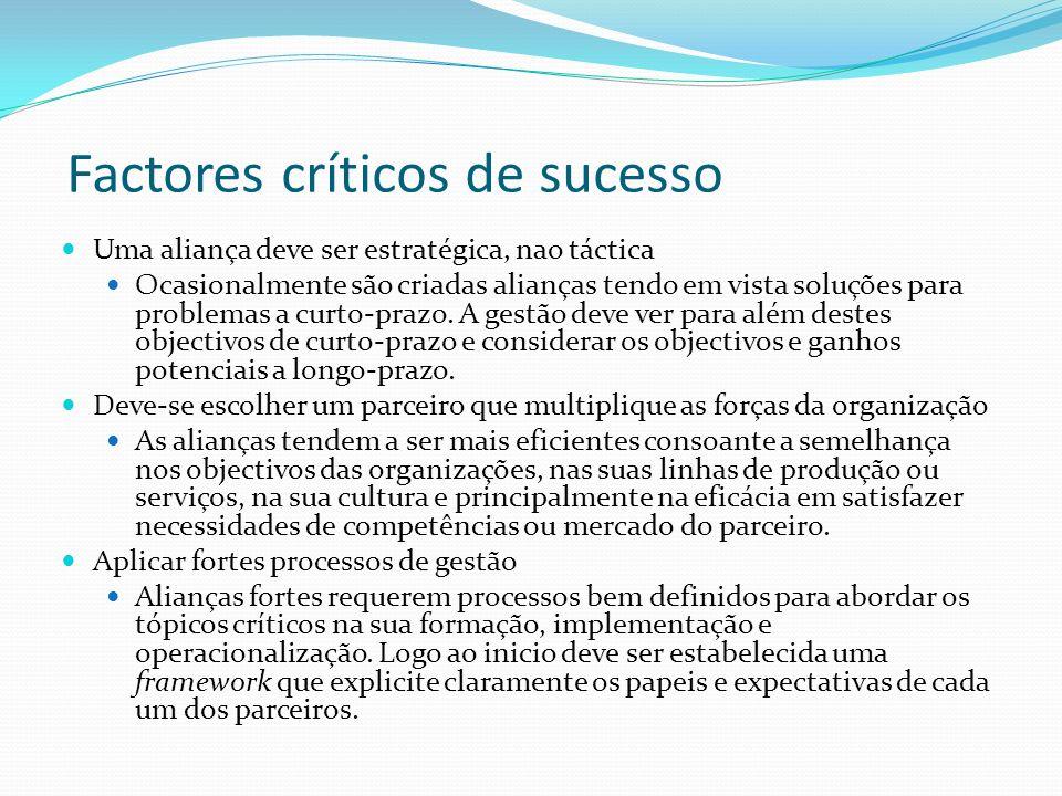Factores críticos de sucesso Uma aliança deve ser estratégica, nao táctica Ocasionalmente são criadas alianças tendo em vista soluções para problemas a curto-prazo.