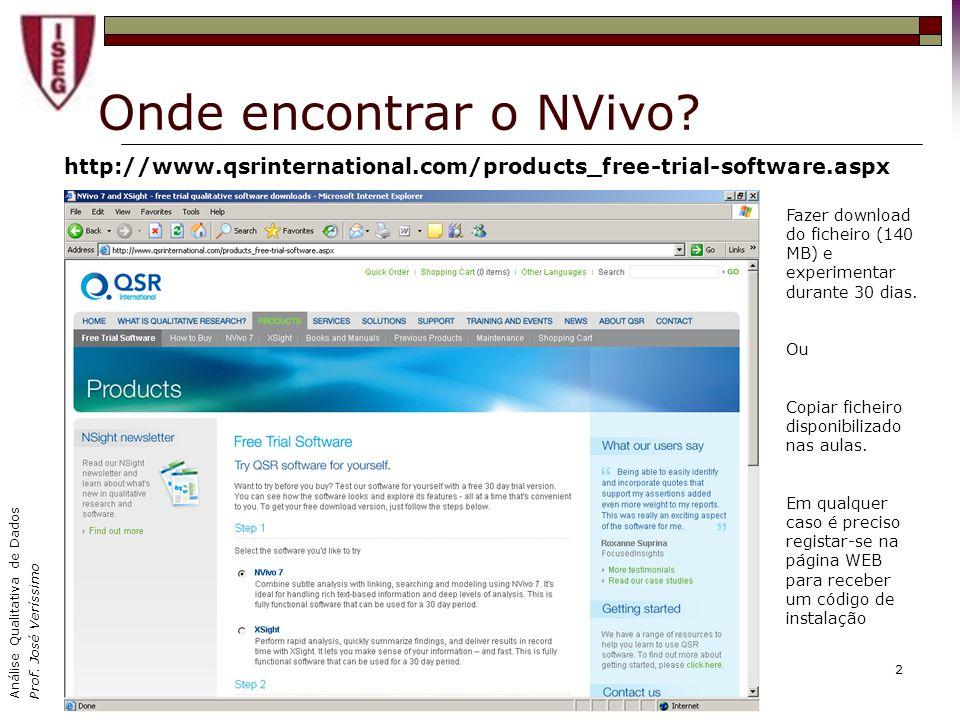 Análise Qualitativa de Dados Prof. José Veríssimo 2 Onde encontrar o NVivo? http://www.qsrinternational.com/products_free-trial-software.aspx Fazer do