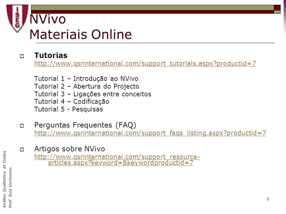Análise Qualitativa de Dados Prof. José Veríssimo 3 NVivo Materiais Online Tutorias http://www.qsrinternational.com/support_tutorials.aspx?productid=7