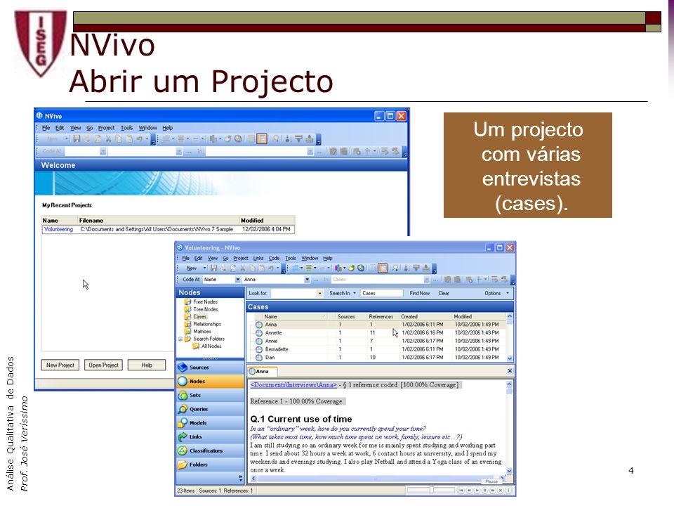 Análise Qualitativa de Dados Prof. José Veríssimo 4 NVivo Abrir um Projecto Um projecto com várias entrevistas (cases).