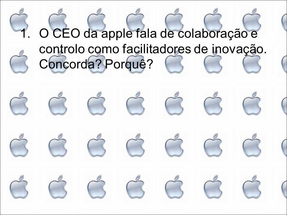 1.O CEO da apple fala de colaboração e controlo como facilitadores de inovação. Concorda Porquê