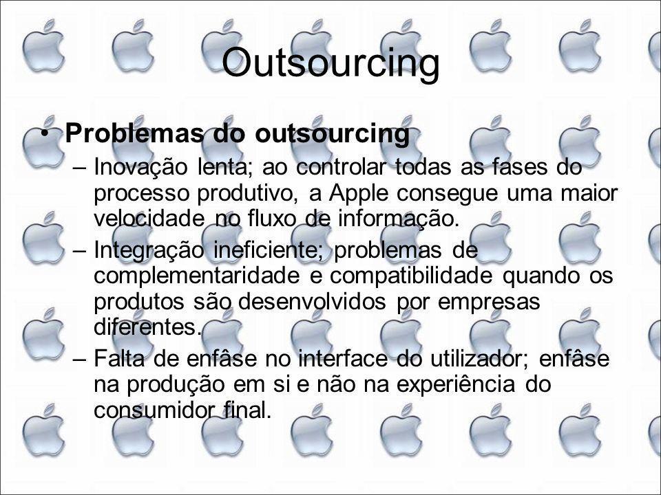 Outsourcing Problemas do outsourcing –Inovação lenta; ao controlar todas as fases do processo produtivo, a Apple consegue uma maior velocidade no fluxo de informação.