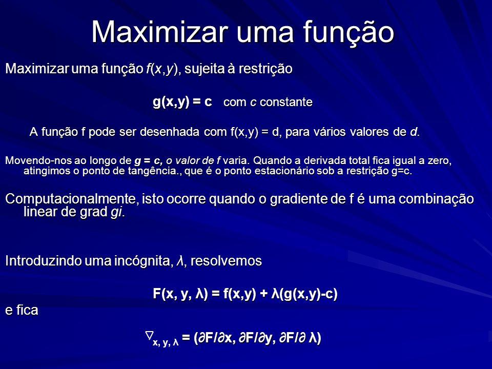 Maximizar uma função Maximizar uma função f(x,y), sujeita à restrição g(x,y) = c com c constante A função f pode ser desenhada com f(x,y) = d, para vá