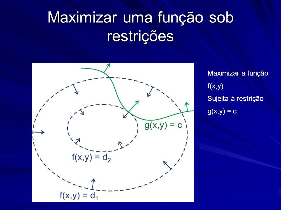Maximizar uma função sob restrições Maximizar a função f(x,y) Sujeita à restrição g(x,y) = c