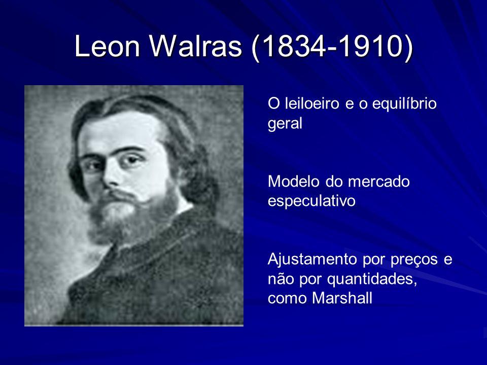 Leon Walras (1834-1910) O leiloeiro e o equilíbrio geral Modelo do mercado especulativo Ajustamento por preços e não por quantidades, como Marshall